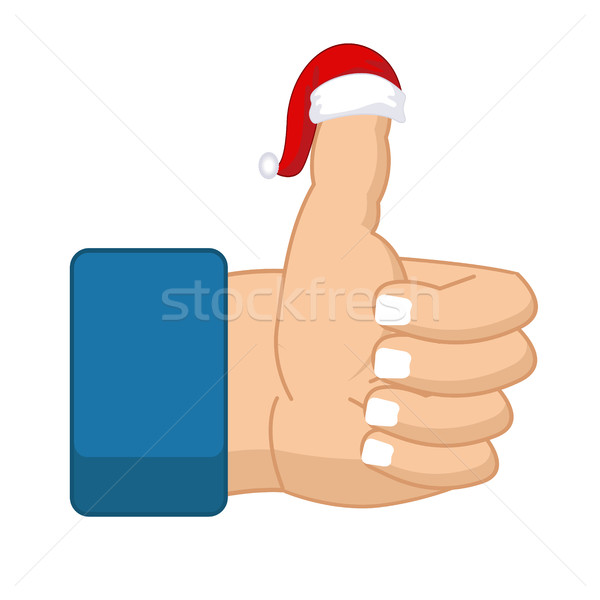 Like Santa Claus. Thumb up. Symbol all right. success gesture. R Stock photo © MaryValery