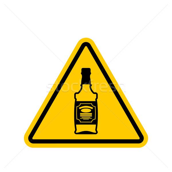 Figyelem alkohol üveg whiskey citromsárga háromszög Stock fotó © MaryValery