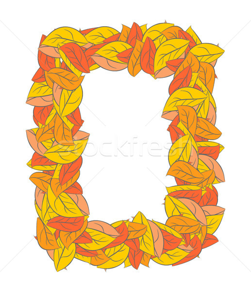Autumn Rectangle frame isolated. Yellow leaves background  Stock photo © MaryValery