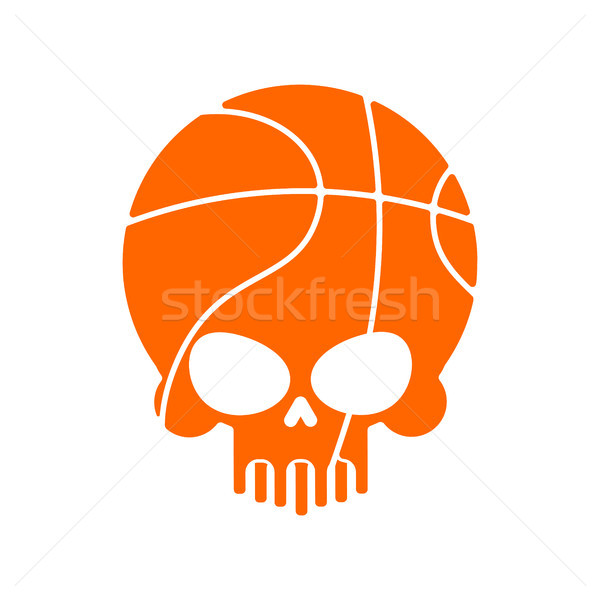 Skull basketball. Ball is head of skeleton. Emblem for sports fa Stock photo © MaryValery