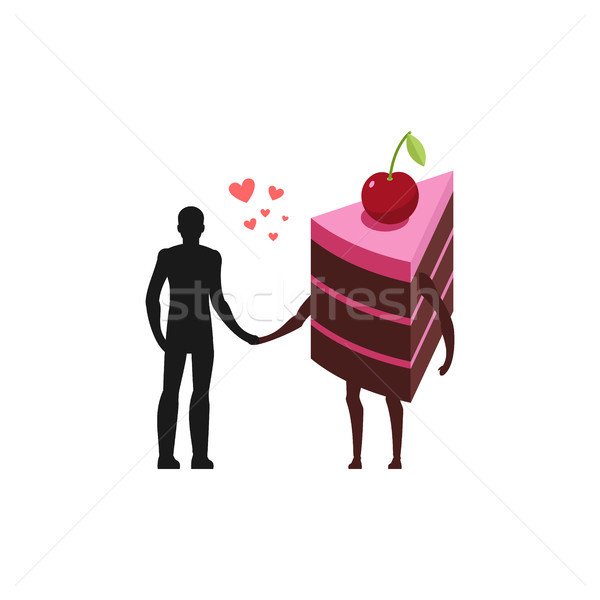 Lover of cakes. Man and piece of cake Hold on to hands. Lovers f Stock photo © MaryValery