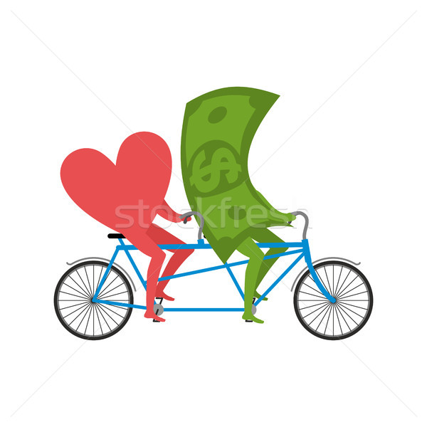 Love and money in Tandem. Selling love. Dollar and heart cycling Stock photo © MaryValery