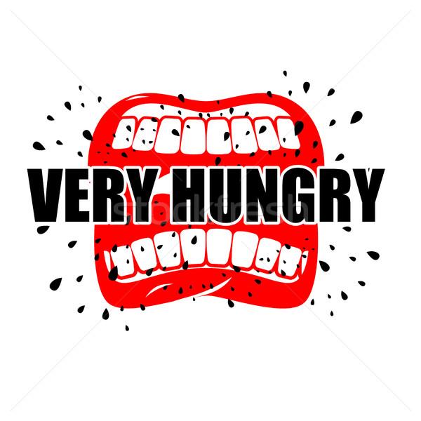 Faminto abrir boca lábios logotipo vazio Foto stock © MaryValery