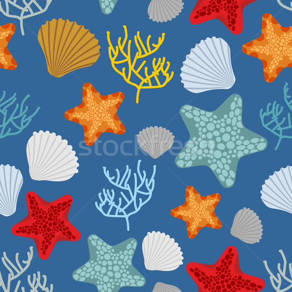 Marine seamless pattern. Starfish, scallop and corals. Clam shel Stock photo © MaryValery