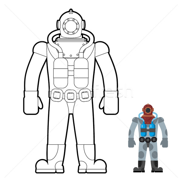 Old wetsuit coloring book. Diver in an old suit for scuba diving Stock photo © MaryValery