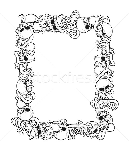 Frame of bones. Anatomy background. Skeleton template. Skull and Stock photo © MaryValery