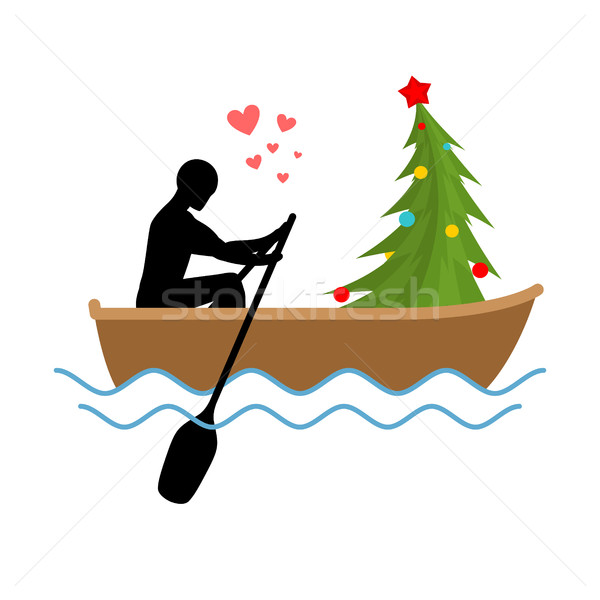 Christmas Lover. Man and Christmas tree ride in boat. Lovers of  Stock photo © MaryValery