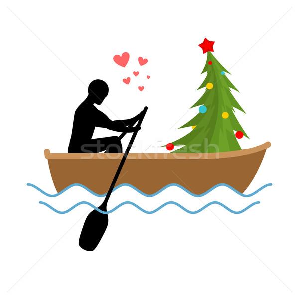 Karácsony szerető férfi karácsonyfa csónak szerelmespár Stock fotó © MaryValery