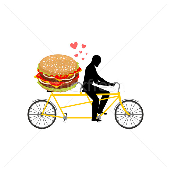 lover fast food. Man and hamburger on tandem. Guy and Burger. Lo Stock photo © MaryValery