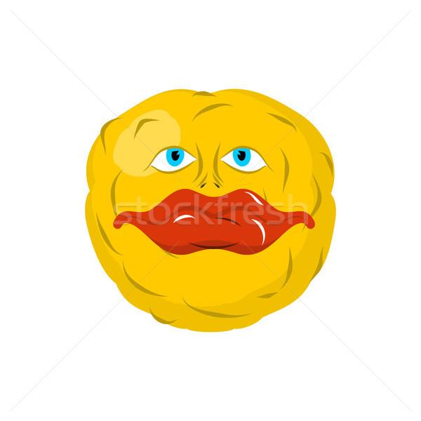 улыбаясь смайлик Crazy счастливым эмоций желтый Сток-фото © MaryValery