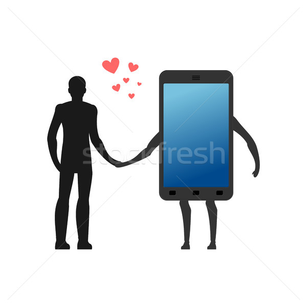 Lover of gadgets. Man and smartphone Hold on to hands. Always to Stock photo © MaryValery
