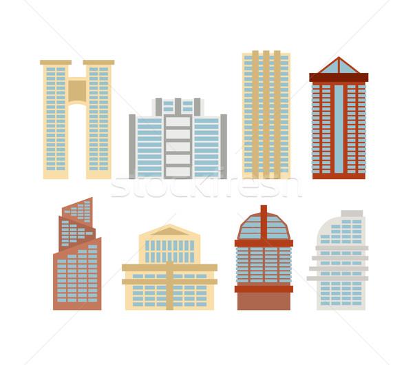 Színes felhőkarcolók irodaépületek modern város vektor Stock fotó © MaryValery