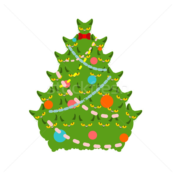 cats Christmas tree. Spruce of pet. fir-tree from cat. New Year  Stock photo © MaryValery