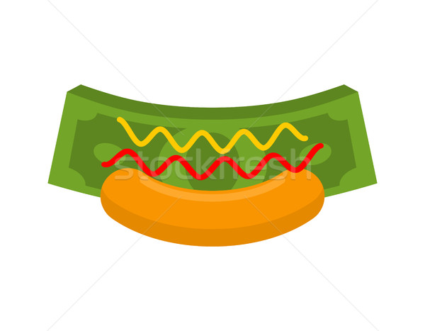 Business Hot Dog. Money in bun. Fast cash. Dollars and mustard w Stock photo © MaryValery