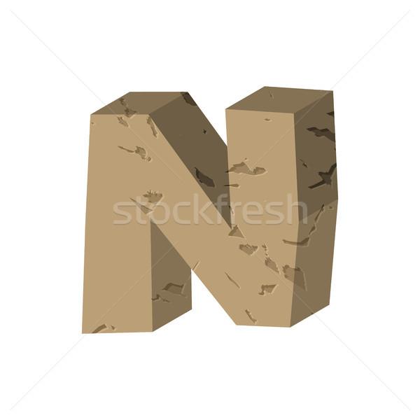 Letter N stone font. Rock alphabet symbol. Stones crag ABC sign Stock photo © MaryValery
