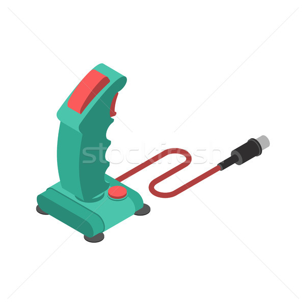 Stock photo: Retro Joystick steering isolated. Old Gamepad wheel for video is