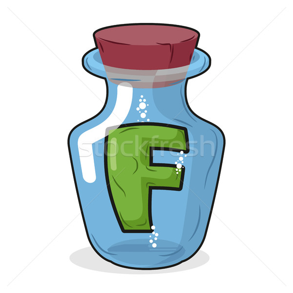 F in  bottle for experiments. Letter in vessel. Laboratory resea Stock photo © MaryValery