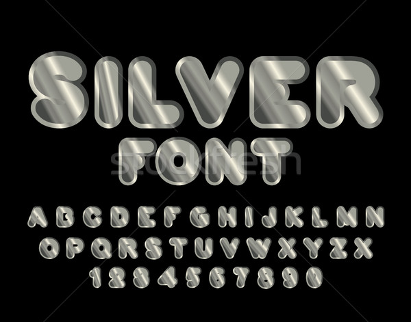 Silver font. ABC of argent. Precious metal alphabet. Metallic sh Stock photo © MaryValery