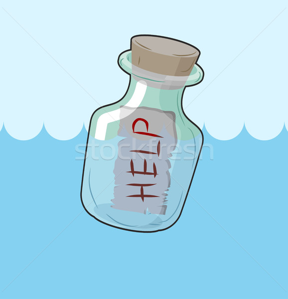 Bottle with message 'Help'. Transparent glass vessel sink in wat Stock photo © MaryValery