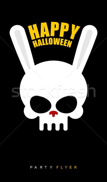 Mutlu halloween tavşan kafatası siyah parti Stok fotoğraf © MaryValery