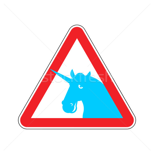 Attention unicorn. Dangers of red road sign. LGBT Caution Stock photo © MaryValery