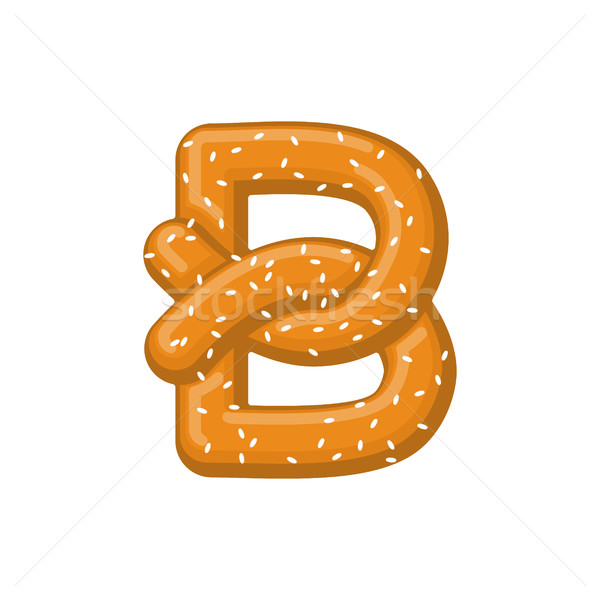 Letter B pretzel. snack font symbol. Food alphabet sign. Traditi Stock photo © MaryValery