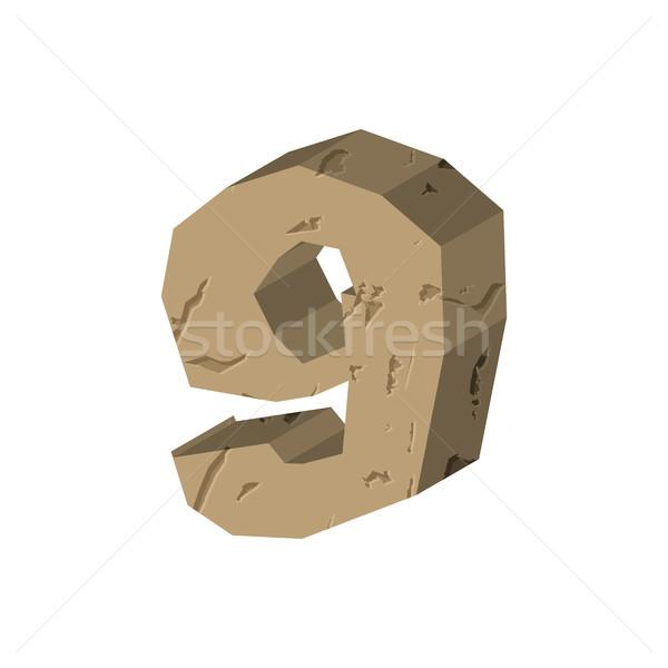 Number 9 stone. Rock font nine . Stones alphabet symbol. rocky c Stock photo © MaryValery