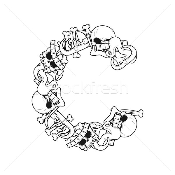 Letter C skeleton Bones Font. Anatomy of an alphabet symbol. dea Stock photo © MaryValery