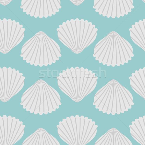 ПечатьSeashell seamless pattern. Scallop vector background Stock photo © MaryValery