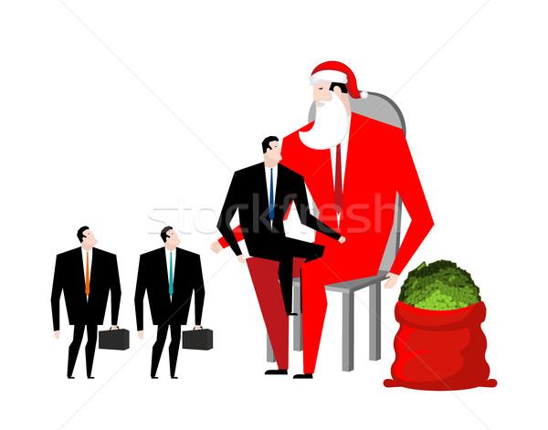 Navidad prima jefe papá noel trabajadores rojo Foto stock © MaryValery
