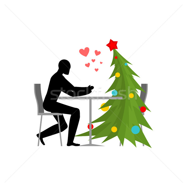 Christmas Lover. Christmas tree in cafe. Lovers in restaurant. R Stock photo © MaryValery