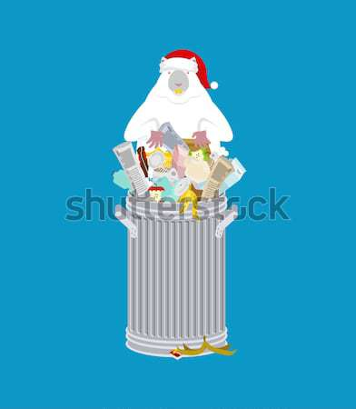 Trash can with Rubbish isolated. Wheelie bin with Garbage on whi Stock photo © MaryValery