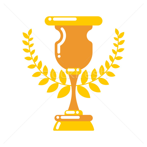 Stock photo: Winner cup gold. Prize of championship. Tournament award on whit