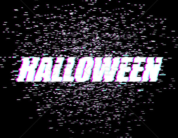 Halloween efekt telewizja zniekształcony stylu chrzcielnica Zdjęcia stock © MaryValery