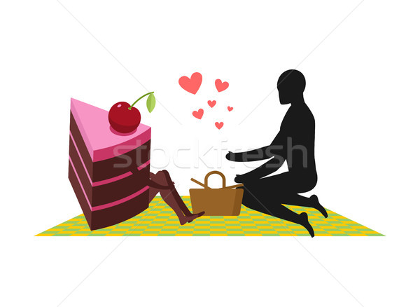 Lover of cakes. Man and piece of cake On picnic. Lovers and Bask Stock photo © MaryValery