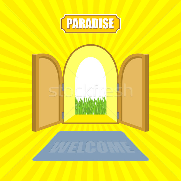 Welcome to paradise. Open gates of paradise gardens. Mat in fron Stock photo © MaryValery