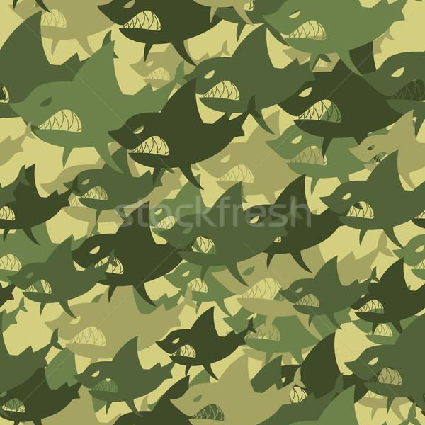 Militar textura tiburón soldados peces Foto stock © MaryValery
