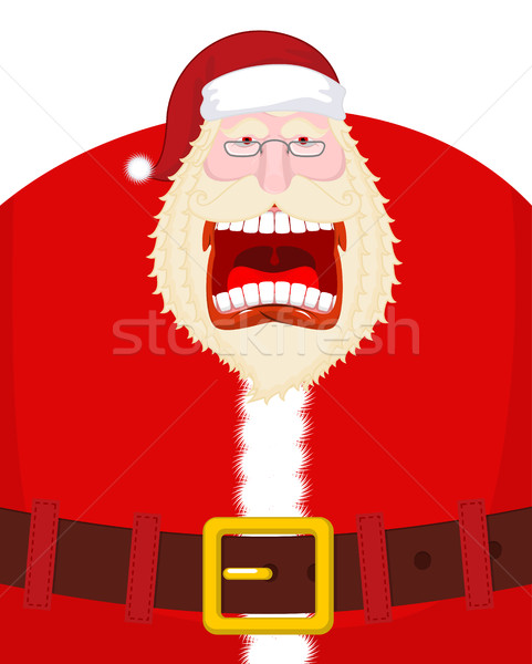 Crazy Santa Shout and belt. Scary grandfather yelling. Open mout Stock photo © MaryValery