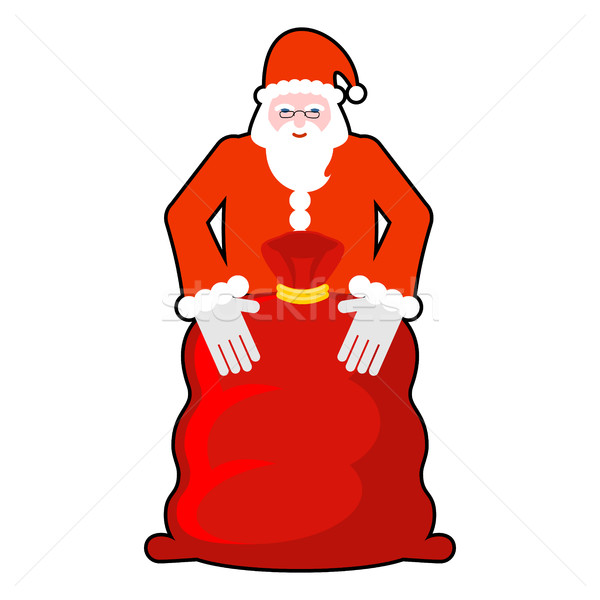 Santa Claus and red sack. Big bag with gifts. Giving gifts at Ch Stock photo © MaryValery