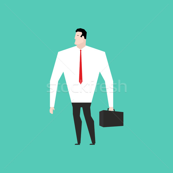 Businessman in white shirt and with suitcase. Office man Stock photo © MaryValery