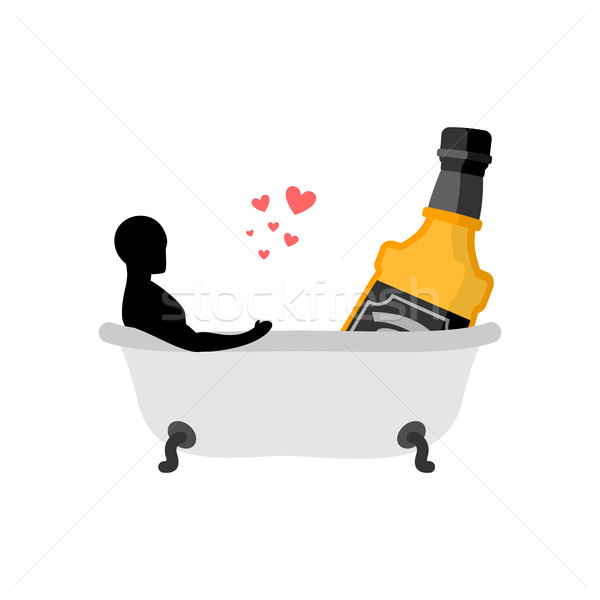 Lover alcohol drink. Man and bottle of whiskey in bath. Joint ba Stock photo © MaryValery