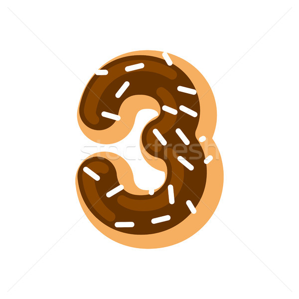Number 3 donut. Doughnut font three. Sweet alphabet. candy lette Stock photo © MaryValery