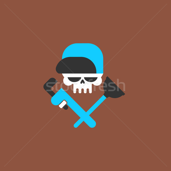 Plumber service emblem. Plumber and Logo Cleaning. Skull and rub Stock photo © MaryValery