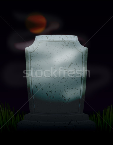 Twilight in cemetery at night. Moon on dark sky. mysterious Ghos Stock photo © MaryValery
