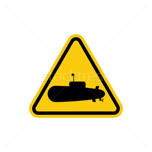 Onderzeeër gevaar teken water kan zwemmen Geel Stockfoto © MaryValery