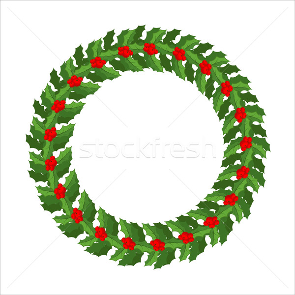 Mistletoe wreath isolated. Traditional Christmas decoration. Fes Stock photo © MaryValery