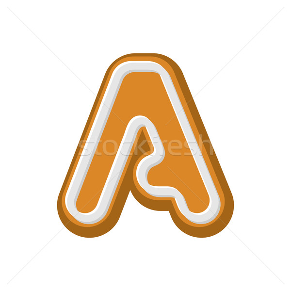 Letter A Gingerbread. Peppermint honey-cake font. Cookies alphab Stock photo © MaryValery