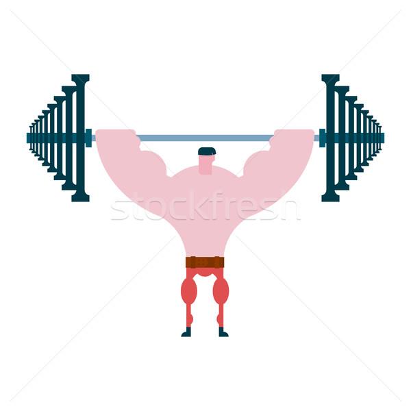 Prensa hasta barra con pesas atleta Foto stock © MaryValery
