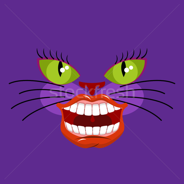 Cheshire cat is an animal from Alice in Wonderland. Broad smile. Stock photo © MaryValery