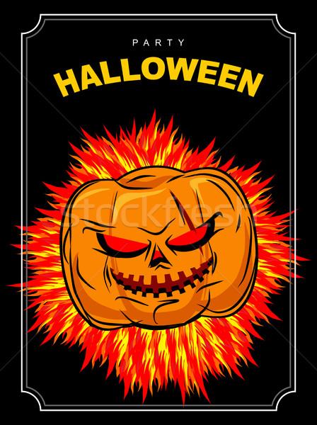Halloween partij scary pompoen Rood ogen Stockfoto © MaryValery